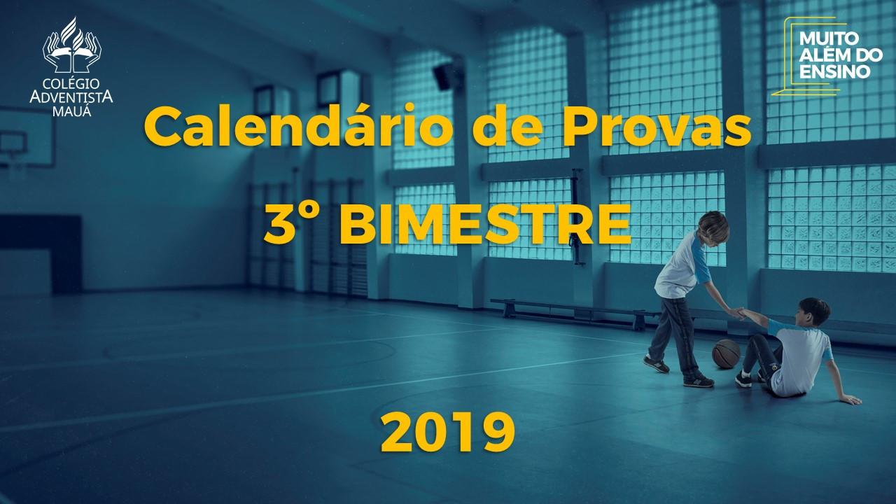 CALENDÁRIO DE PROVAS:  P1 | P2 – 3º BIMESTRE