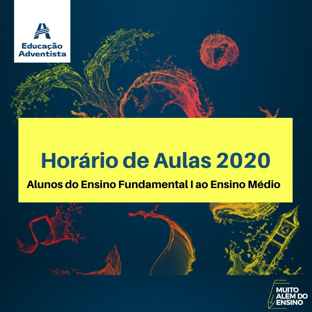 Horário de  Aulas 2020.